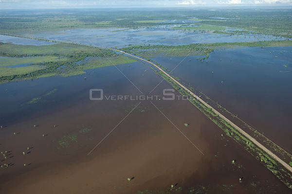 Aerial view of road to the North of the Beni Department of Bolivia isolated by the waters of Mamoré River during the great fl...