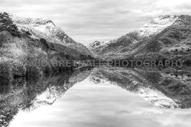 Llyn Padarn & Snowdonia Mountains Reflections (Mono)
