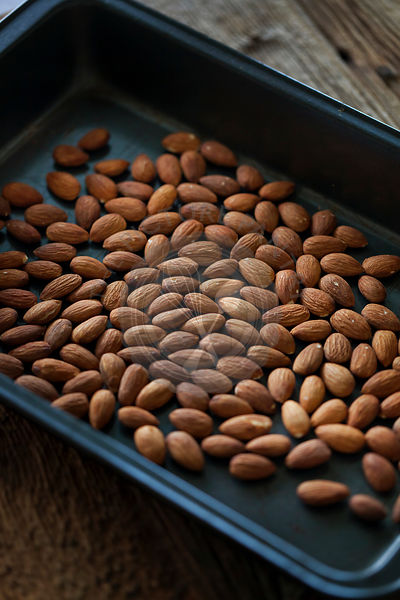 Almonds on a baking tray