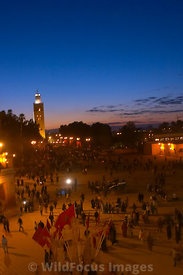 Djemaa el-Fna with the minaret of the Koutoubia mosque in the background, Marrakesh, Morocco; Portrait