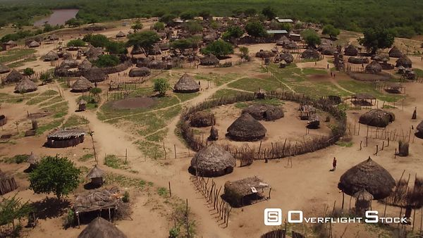 Drone Video Ethiopia. Thatch Hut Village.