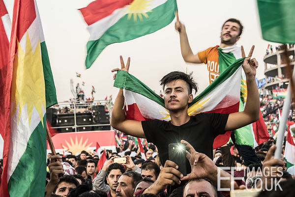 Flag Fever at the final Kurdish Independence Referendum rally at the packed out Franso Hariri Stadium in Erbil. 22nd Septembe...