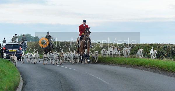 Andrew Osborne MFH leads hounds on the road