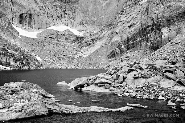 CHASM LAKE ROCKY MOUNTAIN NATIONAL PARK COLORADO BLACK AND WHITE