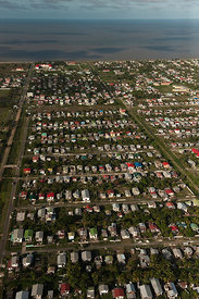 Aerial view of Georgetown, capital of Guyana, a city built on the coast below sea level, Guyana, December 2009