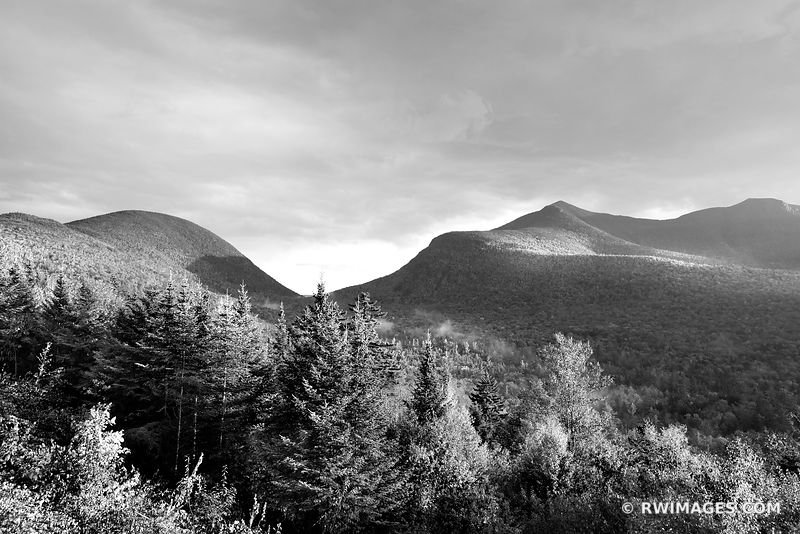 SUNSET KANCAMAGUS PASS WHITE MOUNTAINS KANCAMAGUS HIGHWAY NEW HAMPSHIRE BLACK AND WHITE