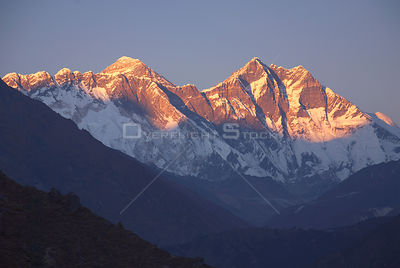 NEPAL Sagarmatha National Park -- The sun sets over the Lhotse wall massif.