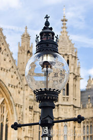 Gas street lighting at Parliament, London