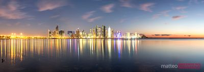 Panoramic of Doha financial centre at dawn, Qatar