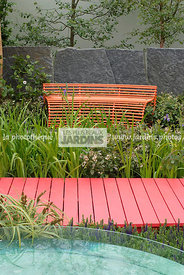 Bench, Contemporary garden, Red, Resting area, Stone, Wooden footbridge, Digital