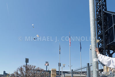 Two Skydivers Parachuting Into PNC Park