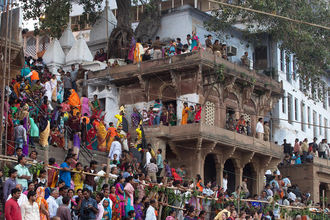Thousands of Hindus gather along the Ganges River for the culmination of the Kali Murti festival, Assi Ghat, Varanasi, India