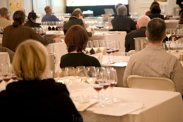 People at wine tasting seminar taste red and white wines