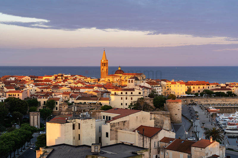 Elevated View of the Centro Storico of Sassari at Dawn