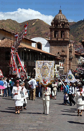 Devotees during parades for Corpus Christi festival , Plaza de Armas , Cusco , Peru