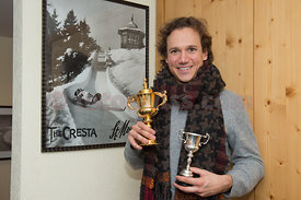 "Magnus Eger (Managing Director Sberbank) of Munich, Germany winner of the ""Heaton Gold Cup"" at the Cresta Run in St.Moritz"