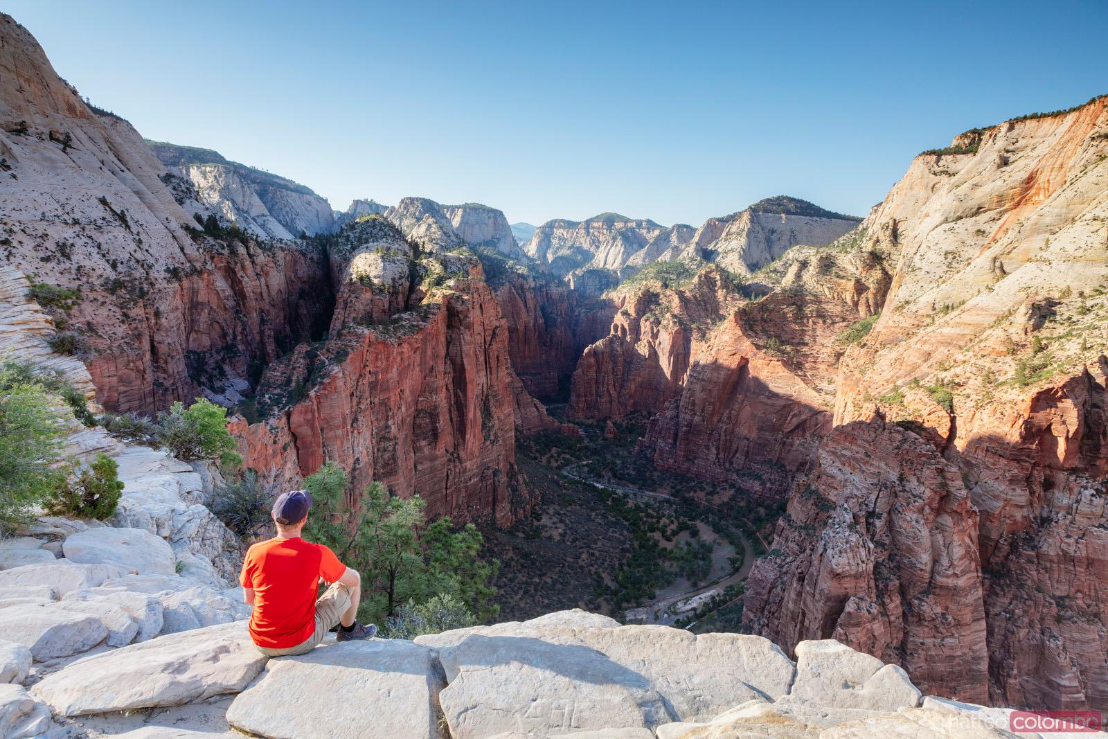 Man looking at view, Zion National park, USA