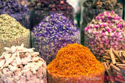 Assortment of spices and herbs at local souk, Dubai