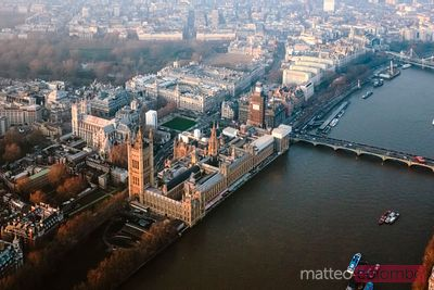 Aerial view of the Houses of Parliament, London, UK