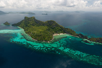 Aerial view of Apulit Island Resort, a high end tourist resort, Philippines, May 2009