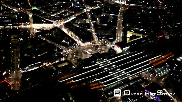 Night aerial video City center in downtown area at the central station in Hannover in the state of Lower Saxony, Germany