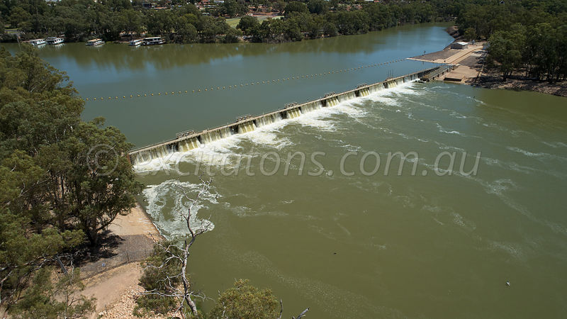 High angle of Murray River weir at Mildura.