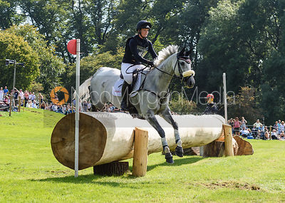Elizabeth Power and SOLADOUN, cross country phase, Land Rover Burghley Horse Trials 2018