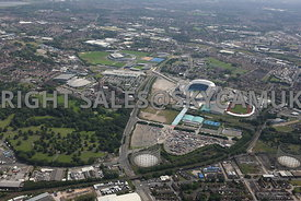 Wide angle view of the Etihad Stadium with the Campus and Sport City looking from the north towards the south showing the reg...