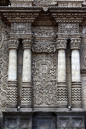 Stone carving on entrance facade of La Compañia de Jesus church , Arequipa , Peru
