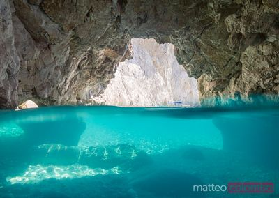 Famous blue caves in the island of  Zakynthos, Greek Islands, Greece