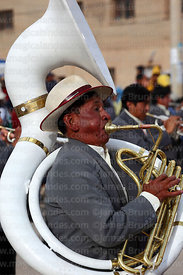 Man playing sousaphone in brass band, Chutillos festival, Potosí, Bolivia
