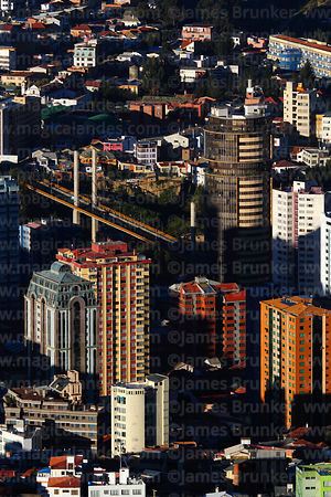 Aerial view of Puente de las Americas and high rise buildings in Sopocachi, La Paz, Bolivia