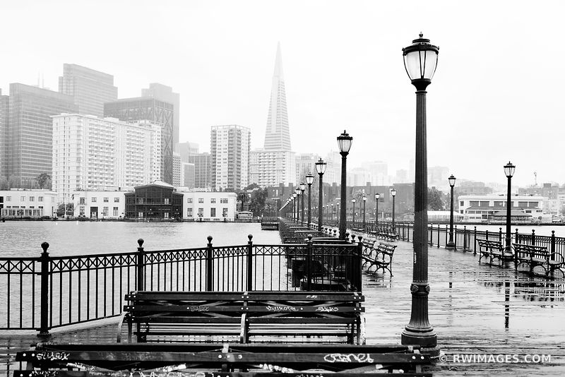 SAN FRANCISCO EMBARCADERO PIER BLACK AND WHITE SAN FRANCISCO CALIFORNIA