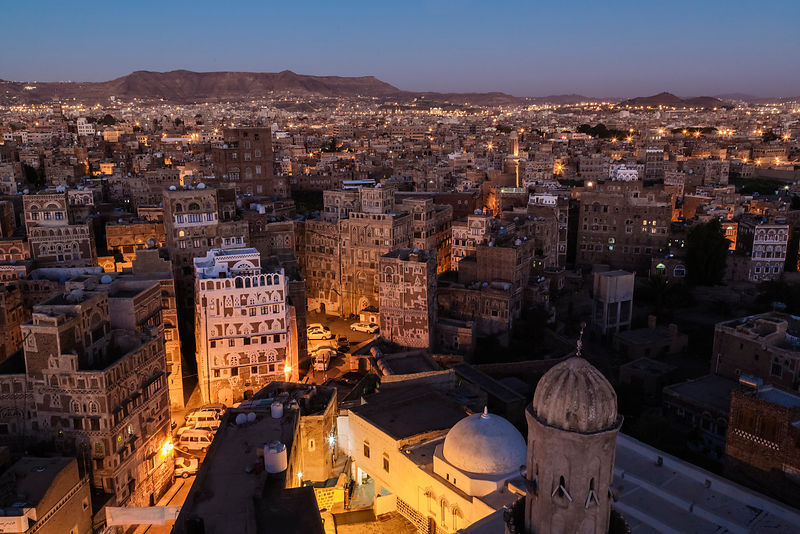 Elevated View of the Sana'a Skyline looking West at Dawn