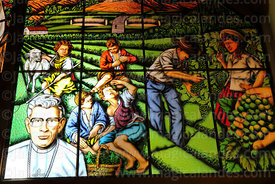 Stained glass window with scenes of the wine harvest or Vendemia, San Bernardo de Tarija cathedral, Tarija, Bolivia