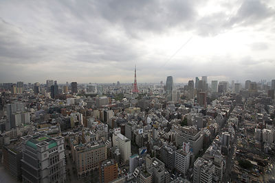 Aerial view of Tokyo looking southwest, Japan