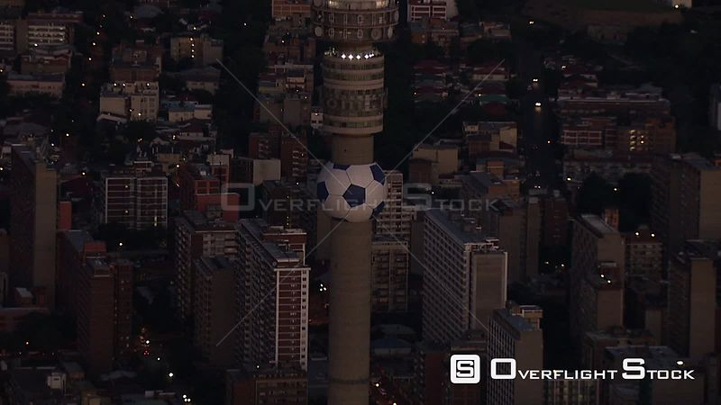 Aerial shot of the Hillbrow Tower in Johannesburg Johannesburg Gauteng South Africa