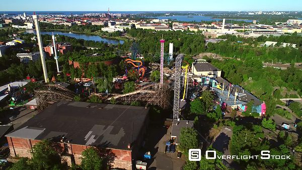 Linnanmaki, Aerial Descending Tilt View of the Helsinki Amusement Park, on a Sunny Summer Morning Dawn, in Helsingfors, Uusim...