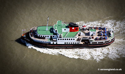 aerial photograph of  the Royal Daffodil Ferry across the Mersey at  Liverpool