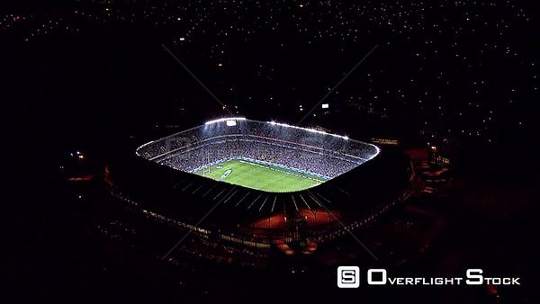 Aerial shot of a lit up Orlando Stadium at night. Johannesburg Gauteng South Africa