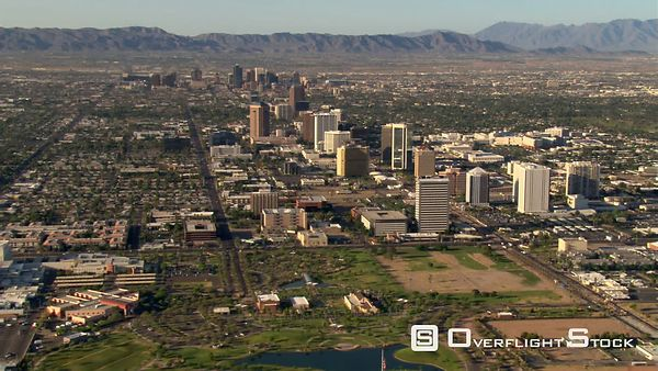 Wide approach toward skyscrapers of downtown Phoenix.