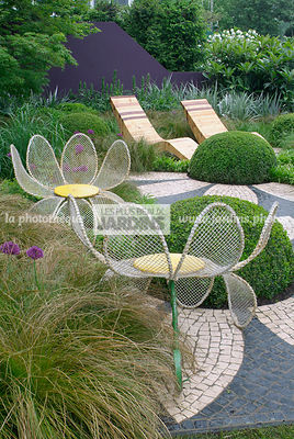 Bizarre, Chair, Contemporary garden, Garden chair, Garden furniture, Pavement, Resting area, Digital, Grasses, Summer