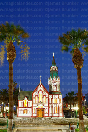 San Marcos church at twilight, Plaza Colon, Arica, Region XV, Chile