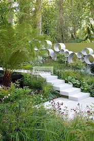 Contemporary garden, Digital, Tree Fern, Trellis, Tropical garden