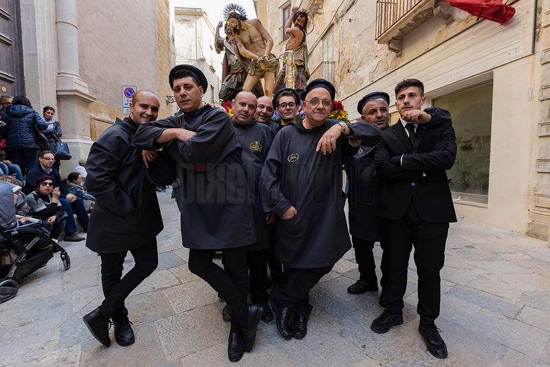 The Bearers take a Rest during the Processione dei Misteri di Trapani during Good Friday