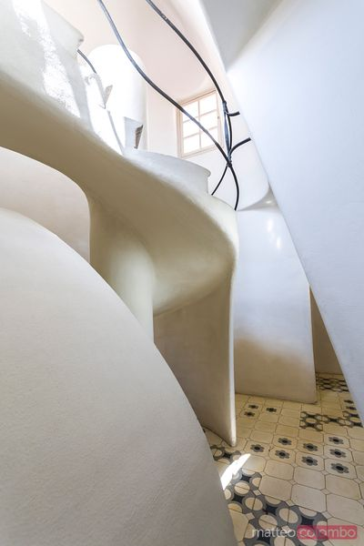 Stairway inside casa Batllo by Gaudi, Barcelona, Spain