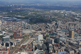 Manchester high level view looking down Victoria railway Approach towards the Manchester Arena and Manchester Cathedral and t...