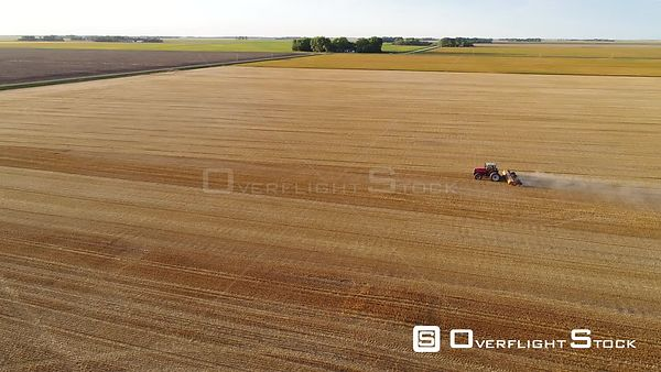 Shredding Wheat stubble, rural East Grand Forks, Minnesota, USA