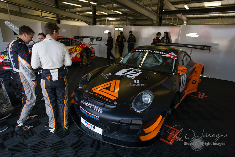 Trackspeed Porsche 997 GT3 R in the pits, pre-race, at the Silverstone 500 - the third round of the British GT Championship 2...