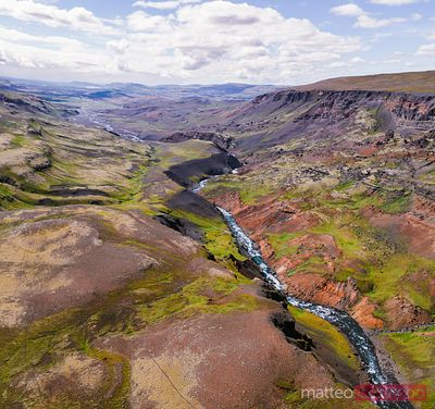 Aerial view of river and valley in summer, Iceland